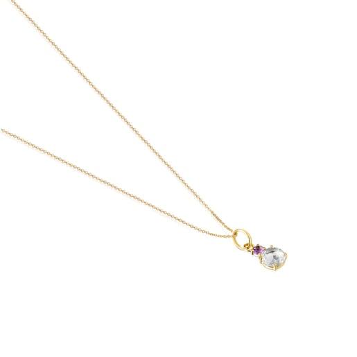 Halskette Mini Ivette aus Gold mit Prasiolit und Amethyst
