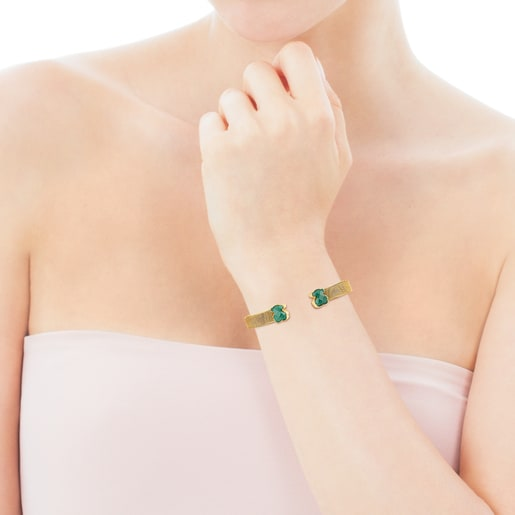 Gold-colored IP Steel Mesh Color Bracelet with Malachite