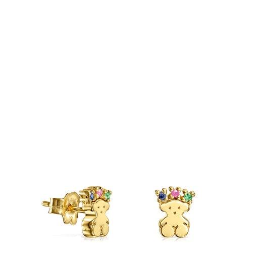 Bären-Ohrringe Real Sisy aus Gold mit Edelsteinen