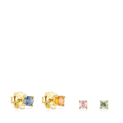 Pack de Aretes Glaring de plata vermeil con zafiros multicolor