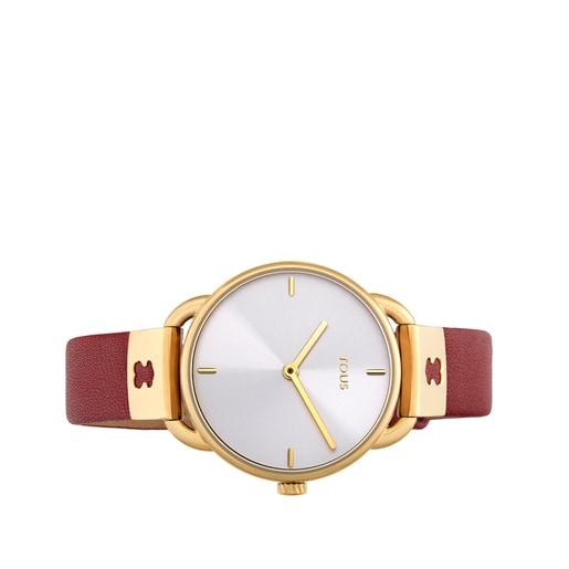 Ρολόι Let Leather από επιχρυσωμένο Ατσάλι με κόκκινο Δερμάτινο λουράκι