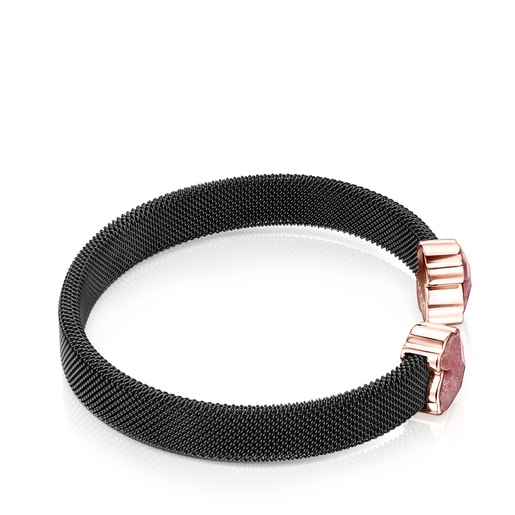Black IP Steel Mesh Color Bracelet with Rhodonite