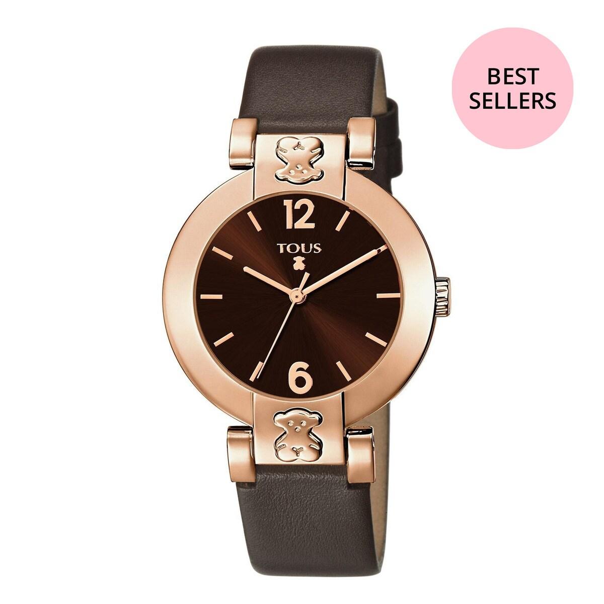 Rellotge Plate Round d'acer IP rosat amb corretja de pell marró