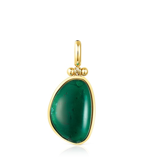 Silver Vermeil Cocktail Pendant with green Glass