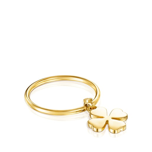 Silver Vermeil TOUS Good Vibes clover Ring
