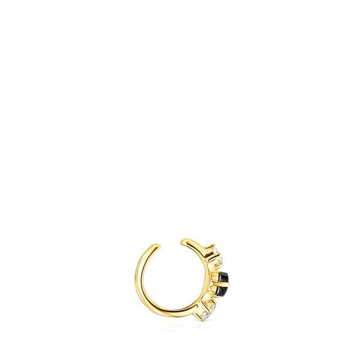 Silver Vermeil Glaring Earcuff with Onyx and Zirconia