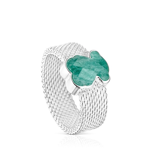 Silver Mesh Color Ring with Amazonite