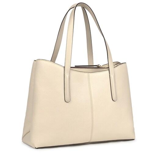 Shopping grande TOUS Icon de piel beige