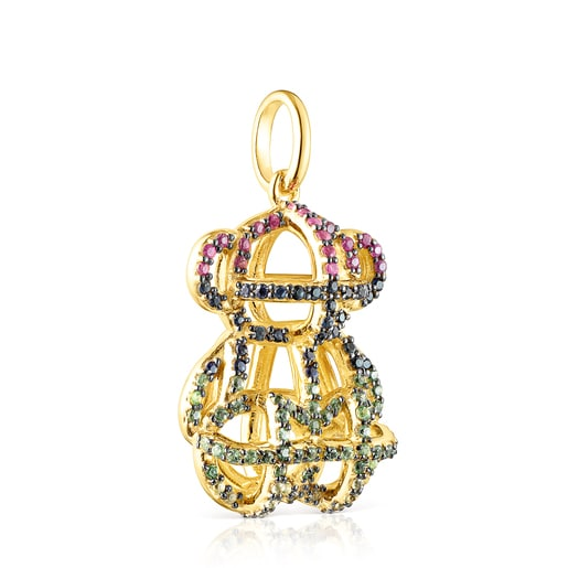 Large Silver Vermeil Costura Pendant with Gemstones