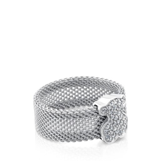 Steel and White gold TOUS Icon Mesh Ring with Diamonds 0,20ct
