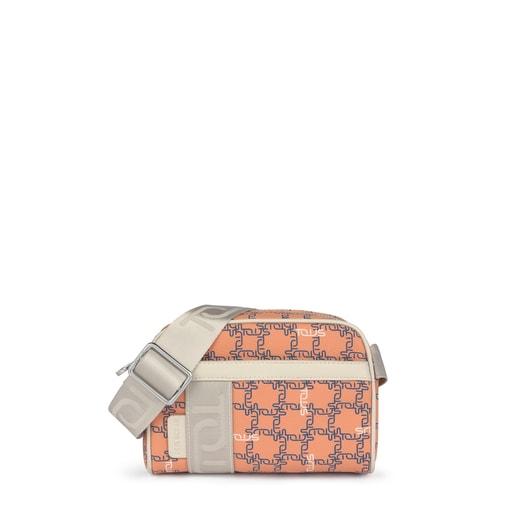 Mala de tiracolo pequena TOUS Logogram laranja-bege