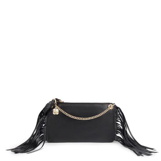 Black leather New Liz Fringes crossbody bag