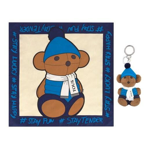 Set Teddy Amaya Sky Schlüsselanhänger + Schal in Bunt