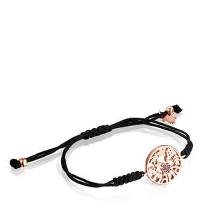 TOUS Mama Bracelet in rose Gold Vermeil with Ruby and black Cord