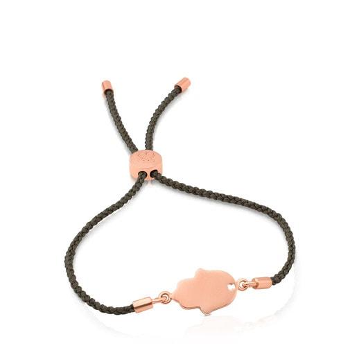 Βραχιόλι Idol από ροζ Ασήμι Vermeil και πράσινο κορδόνι