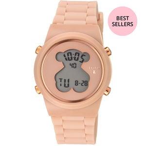 Rellotge digital D-Bear d'acer IP rosat amb corretja de silicona nude