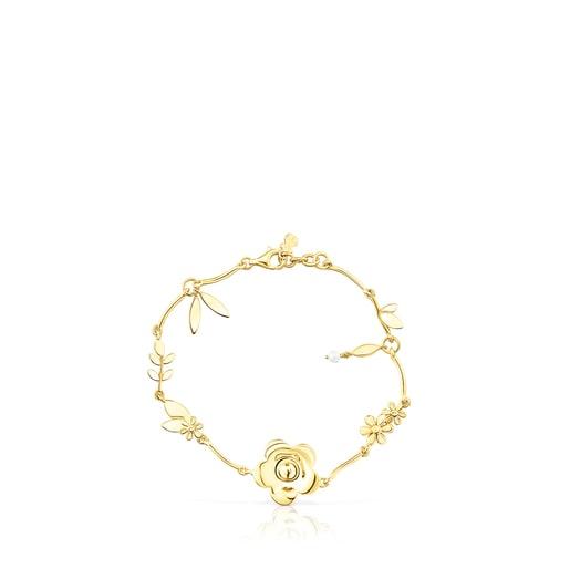 Bracelet Fragile Nature fleurs en Argent vermeil et Perle