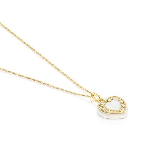 Collar corazón de oro y nácar San Valentín