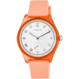 Steel and Poly-carbonate Free Fresh Watch with Coral Silicone Strap
