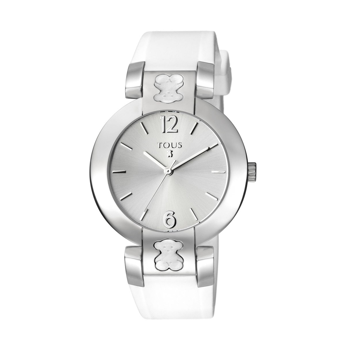 Steel Plate Round Watch with white Silicone strap
