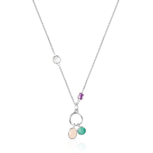 Silver and Gemstones Cool Color Necklace
