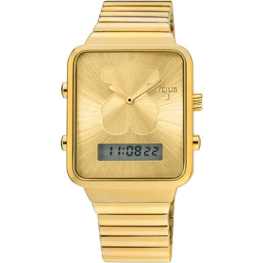 Reloj digital I-Bear de acero IP dorado