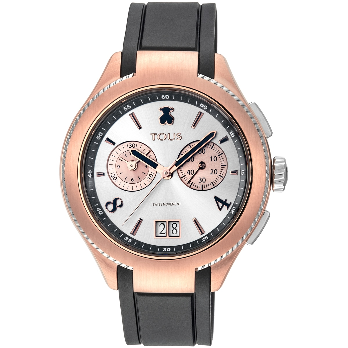 Two-tone Steel/Rose IP ST Watch with black leather strap