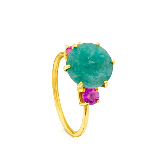 Ivette Ring in Gold with Amazonite and Ruby