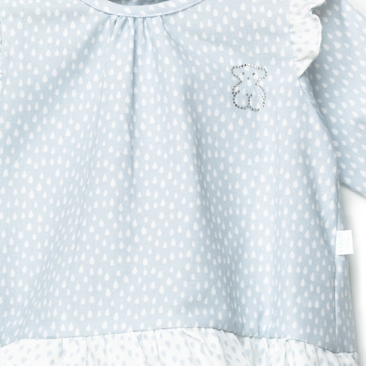 Drip pleated body in Sky Blue