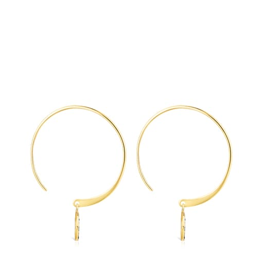 Short Silver Vermeil TOUS Good Vibes eye Earrings with Spinels
