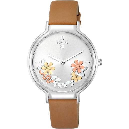 Reloj Real Mix de acero con correa de piel marrón