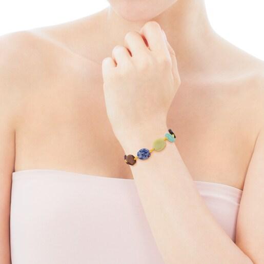 Armband Terra aus Vermeil-Silber mit Edelsteinen