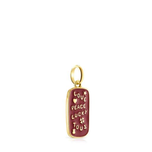 Μενταγιόν Medallions Love&Peace&Lucky από Χρυσό Vermeil με Σμάλτο
