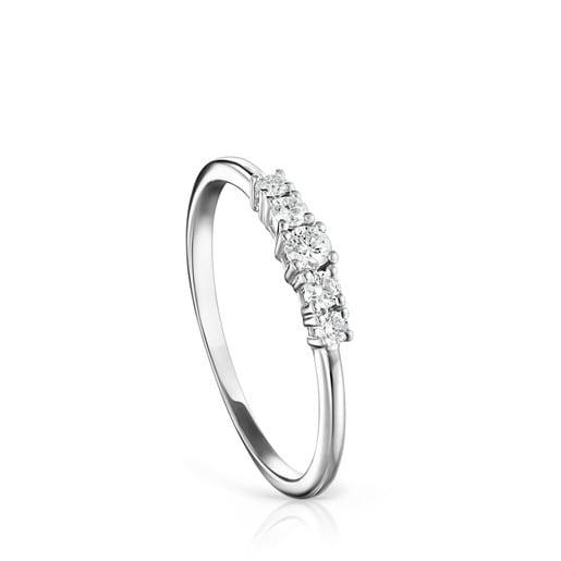 Anillo Riviere de Oro blanco con Diamantes