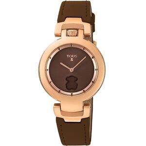 Reloj Crown de acero IP rosado con correa de piel marrón