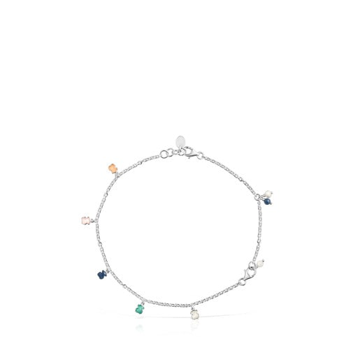 Mini Color Bracelet/Anklet in Silver with Gemstones and Pearl