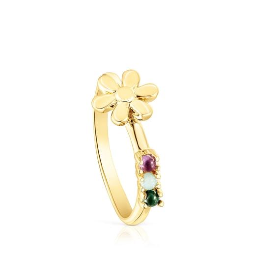 Silver Vermeil Fragile Nature flower Ring with Gemstones