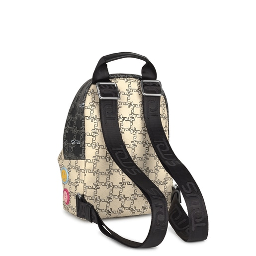 Small black and beige TOUS Logogram Patch Backpack