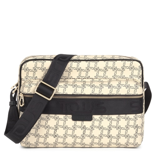 Beige and black TOUS Logogram Messenger bag