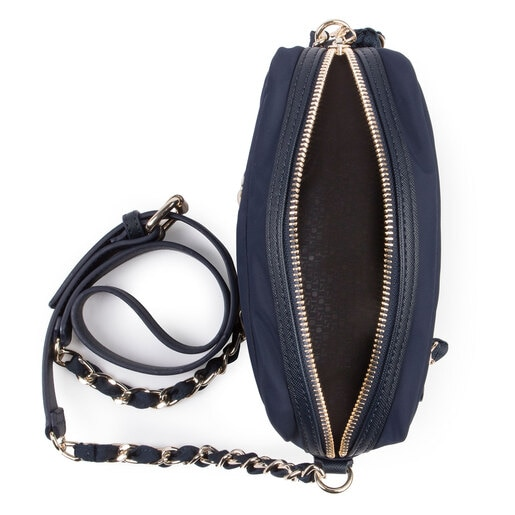 Navy colored Canvas Brunock Chain Crossbody bag