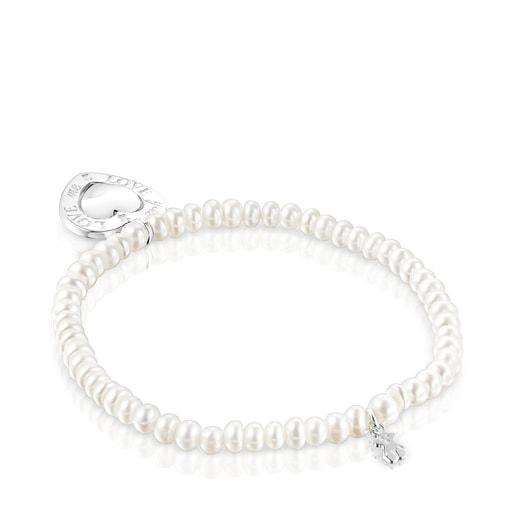 Pulsera perlas y corazón giratorio San Valentín