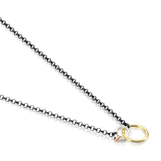 Collar Hold de Plata Dark Silver con Plata Vermeil, Plata Vermeil rosa y Plata