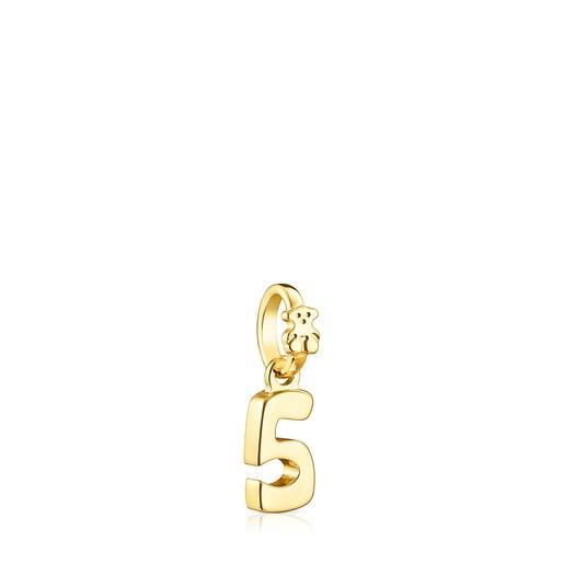 Silver Vermeil Numbers number 5 Pendant
