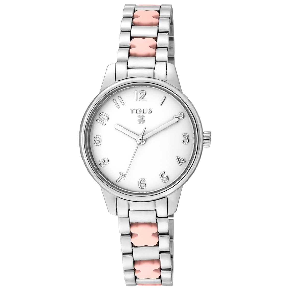 Relógio Beary em aço com bracelete de ursos rosas