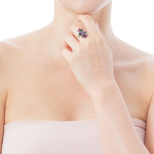 Δαχτυλίδι Real Sisy από Τιτάνιο και Χρυσό με Πολύτιμους Λίθους