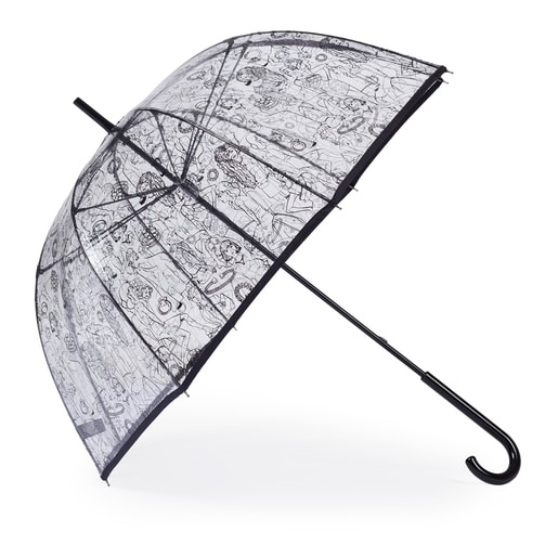 Paraguas grande Tous Tribe blanco-negro