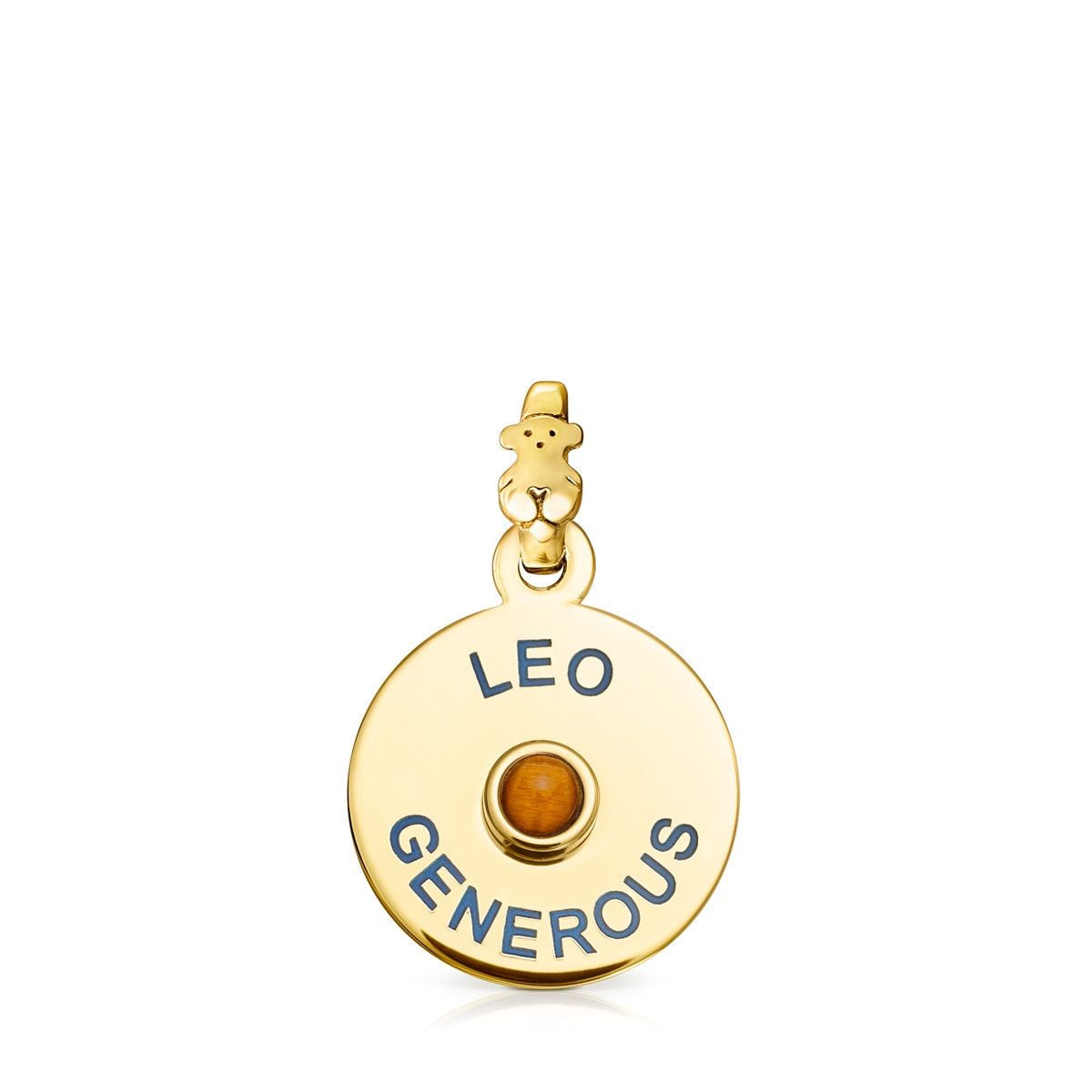 Vermeil Silver TOUS Horoscopes Leo Pendant with Tiger's eye
