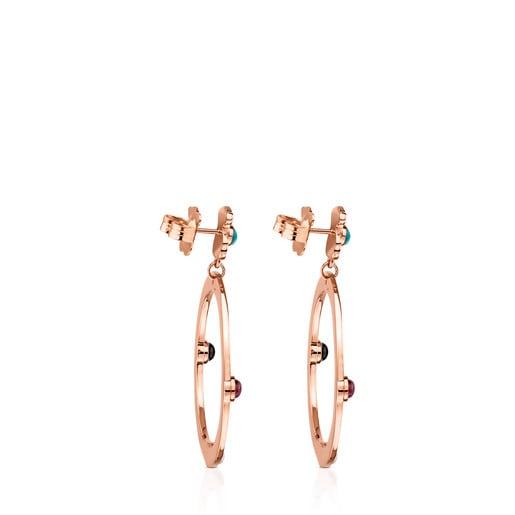 Boucles d'oreilles Super Power grandes en Argent Vermeil rose avec Pierres précieuses
