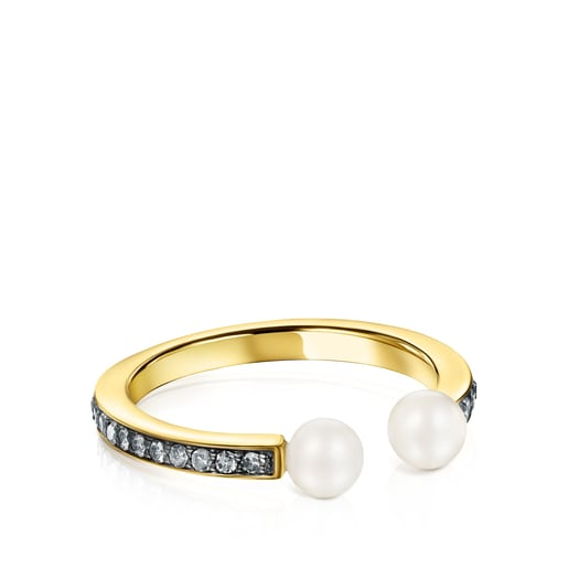 TOUS Nocturne Ring in Silver Vermeil with Diamonds and 4-4,5cm Pearls