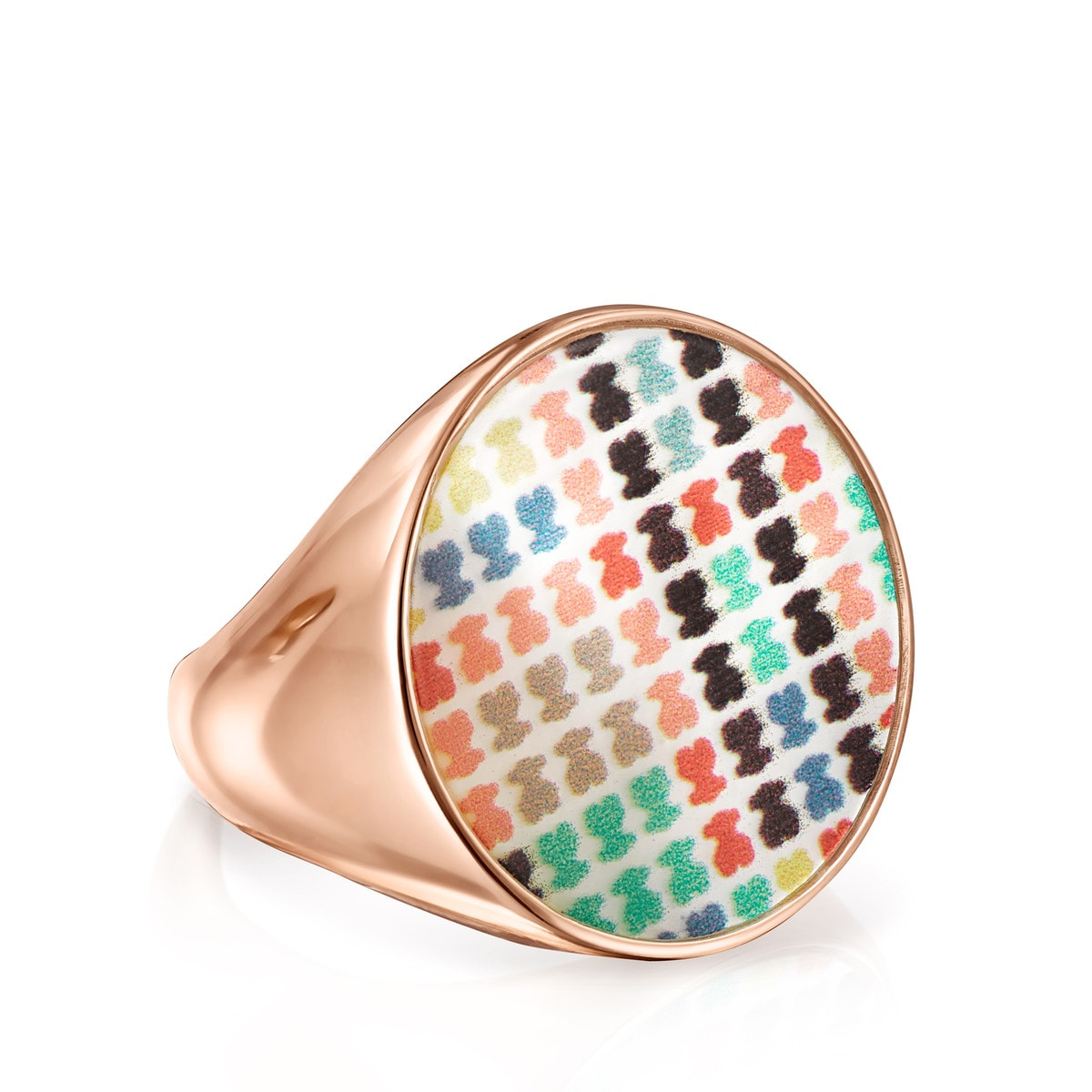 Large Rose Gold Vermeil with Mother-of-Pearl Tartan Ring